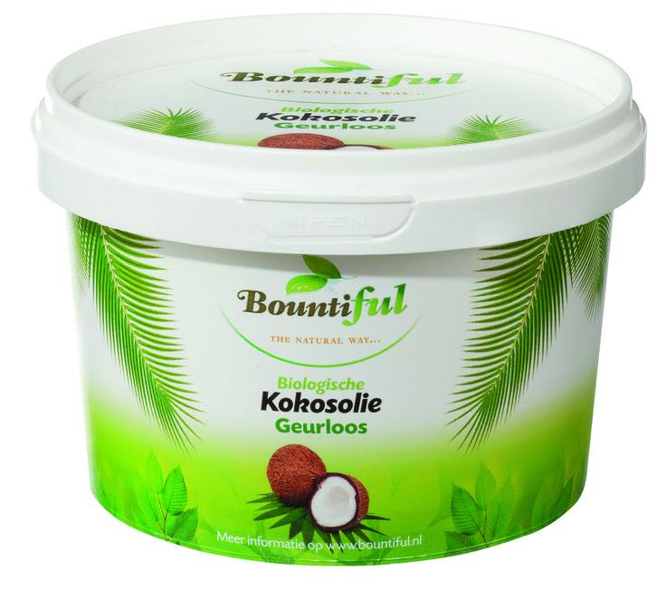 Kokosolie geurloos Bio. Kokosolie is geschikt voor bakken, braden, wokken, frituren en ter vervanging van boter op uw boterham. Bij verhitten blijven alle goede eigenschappen van de olie behouden. Het smeltpunt ligt rond 24 a 26 graden, daarom is kokosolie meestal gestold in ons klimaat. Kokosolie bevat laurine zuur. Kokosolie kan ook gebruikt worden voor de verzorging van huid, haar en tanden.