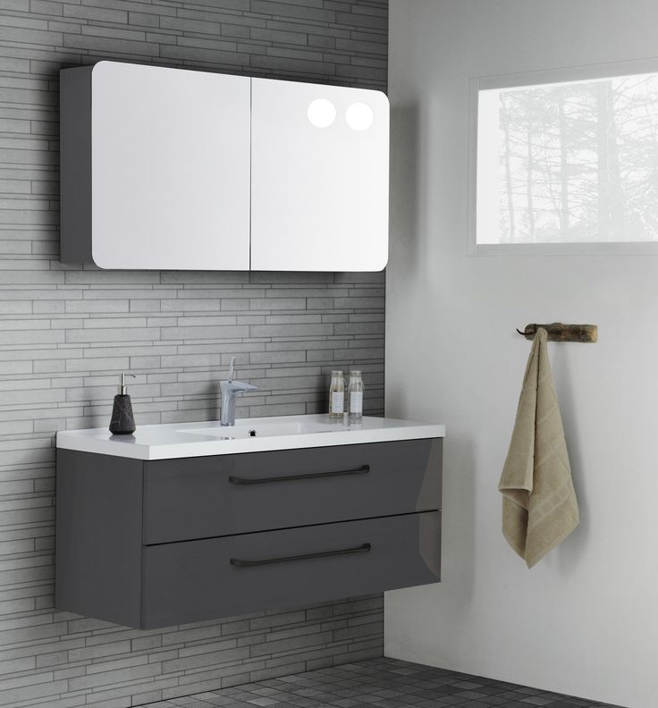 more masculine layout with grey gloss furniture and black handles mirror cabinet with rounded corners