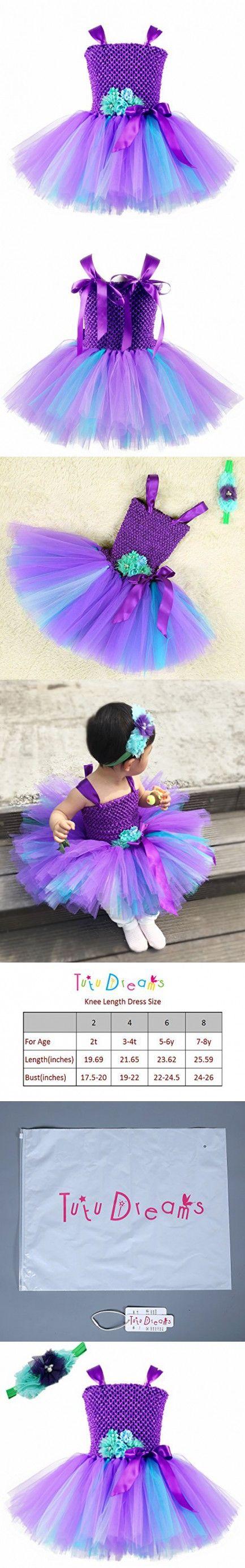 Tutu Dreams Baby Girl Tutu Dresses Mermaid Dress Up (S, Purple-teal)