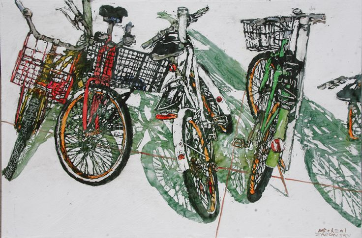 "lido bikes (100)  16"" x 24"" x 1 3/4'  micheal zarowsky / Mixed media (watercolour / acrylic painted directly on gessoed birch panel)  Available $$950.00"