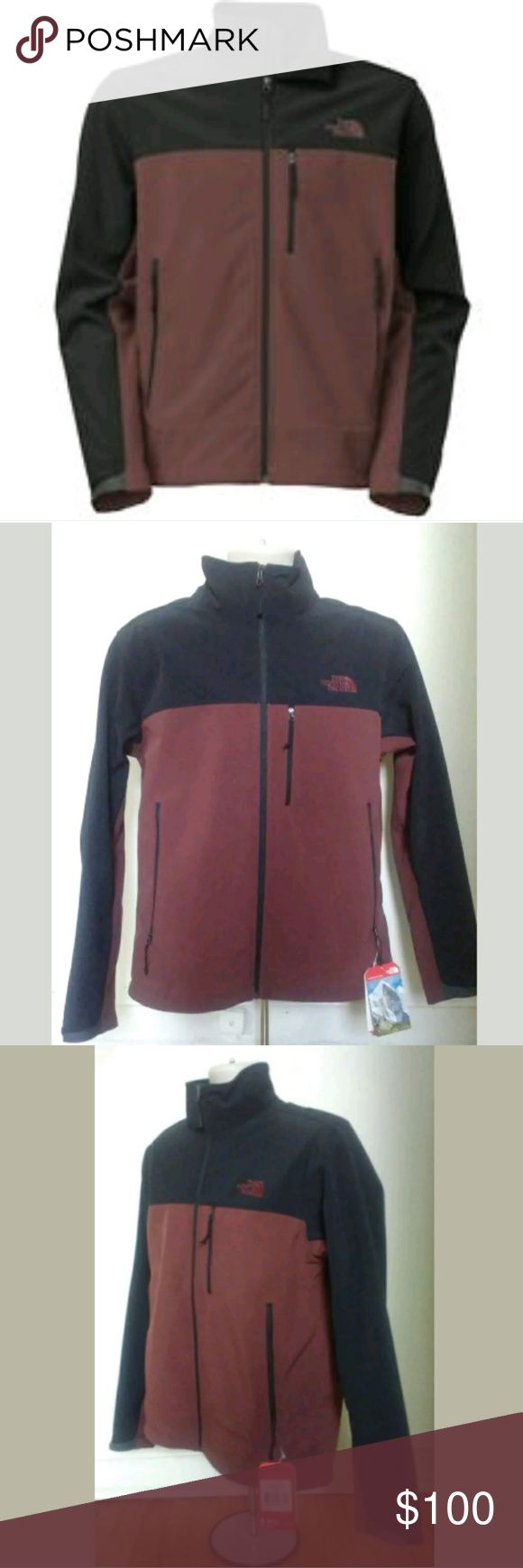 NWT The North Face Men's Jacket New With Tags The North Face Mens Apex Bionic Jacket Burgundy and Black  Retails for $150  Men's Size Medium  Men's Relaxed Fit  A classic fit with added ease  Fit with a little more room in the body and sleeves  A soft shell for activity in severe weather conditions  Breathable, windproof and water resistant  Perfect for hiking, outdoors activities  Will consider reasonable offers! The North Face Jackets & Coats