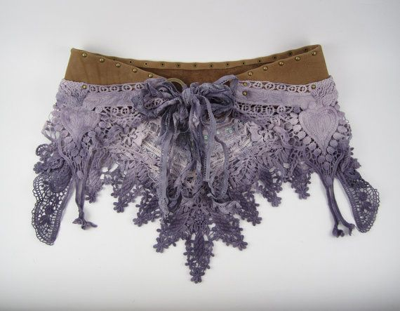 Dusty Lavender Hand Dyed Crochet & Studded Leather by Kindlette, Festival / Performance, Skirt / Belt with Tassels, Burner, Bohemian, Gypsy, Tribal, Dance. Perfect for Burning Man fashion and clothing!