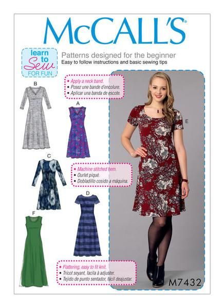McCall's Sewing Pattern M7432 Misses' Knit Dresses with V, Crew or Scoop Necklines … WeaverDee.com