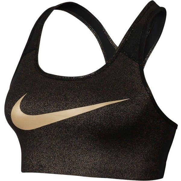 Nike Pro Gold Classic Medium-Support Compression Sports Bra ($40) ❤ liked on Polyvore featuring activewear and sports bras