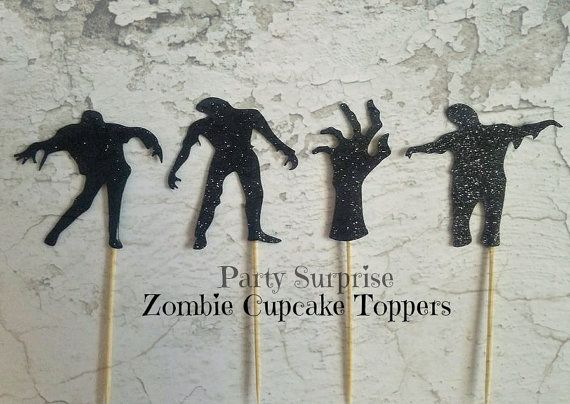 Zombie Cupcake Toppers Zombie Party Decorations by PartySurprise