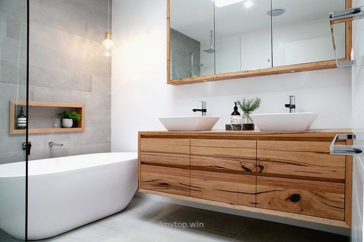 Modern bathroom design featuring timber vanity, shaving cabinet and nook. Wall … http://www.4mytop.win/2017/08/04/modern-bathroom-design-featuring-timber-vanity-shaving-cabinet-and-nook-wall/