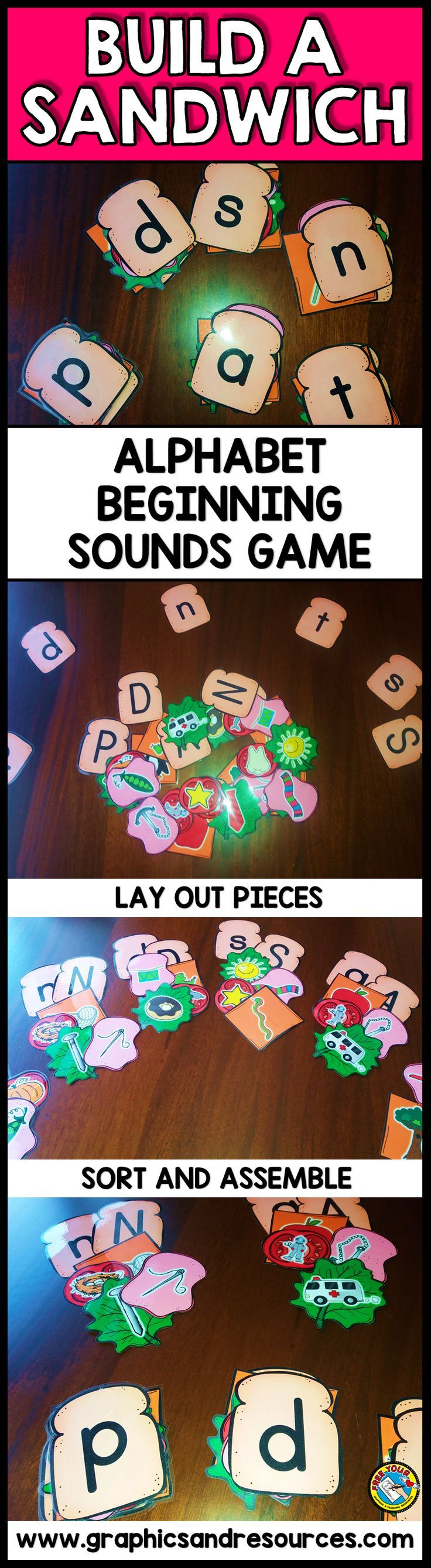BUILD A SANDWICH BEGINNING SOUNDS GAME FOR KINDERGARTEN This fun original game will surely engage all students and can be played individually or in small groups. Students assemble sandwiches by matching each lowercase letter with the pictures that start* with that letter and also with the uppercase letter. They will surely have a blast!