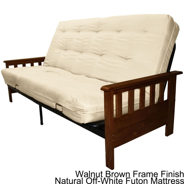 Epic Provo Queen Size Mission Style Frame Mattress Futon Set Mahogany Finish With Khaki Brown