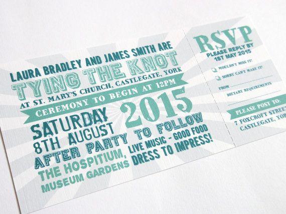 Festival Wedding Invitation with RSVP card Festival ticket
