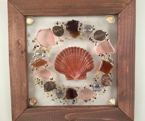 Sea Shell & Beach Glass Wreath by SeasidesbyDesign on Etsy