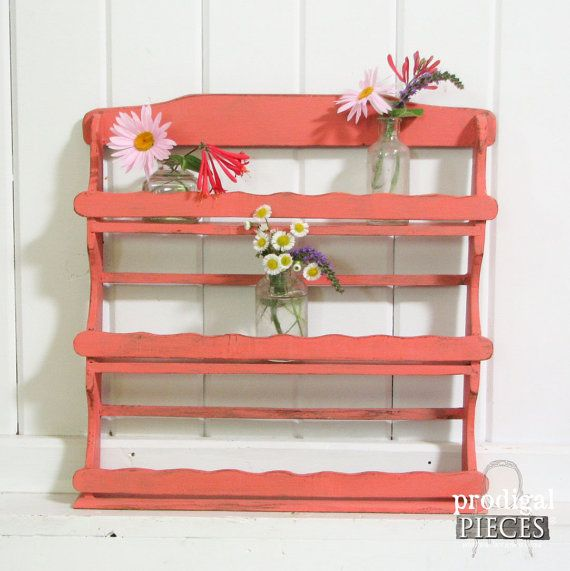 RESERVED  Chippy Coral Vintage Spice Rack  by ProdigalPieces