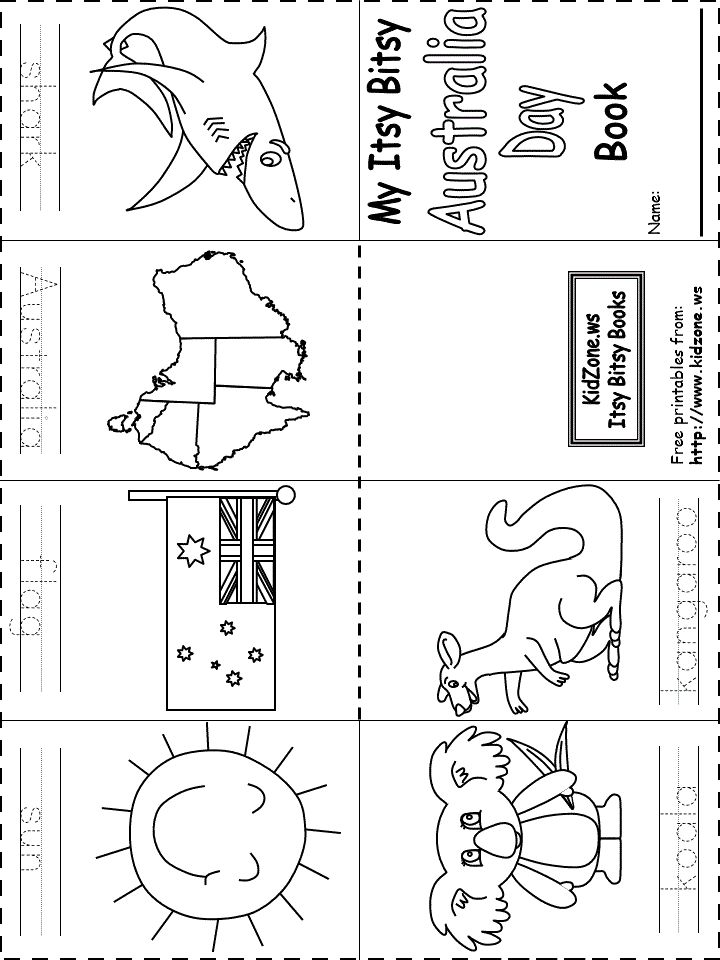 Awesome website for classroom printables!  Cultural Week: Itsy Bitsy Book - Australia Day