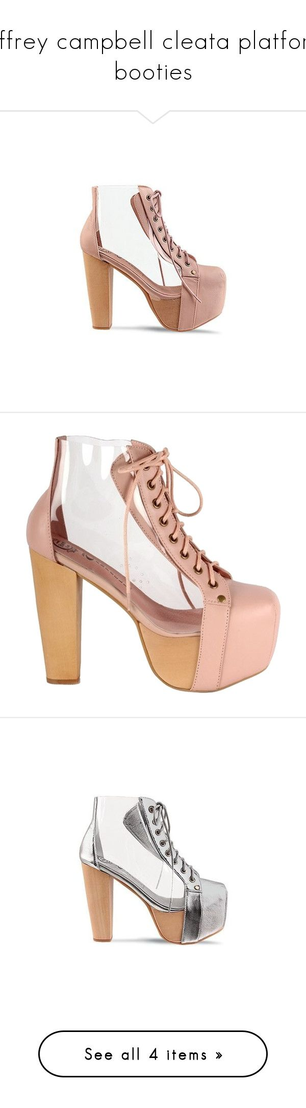 """""""jeffrey campbell cleata platform booties"""" by babyprincessdarling ❤ liked on Polyvore featuring shoes, boots, ankle booties, jeffrey campbell, nude clear, platform ankle booties, leather platform boots, faux leather booties, high heel booties and leather booties"""