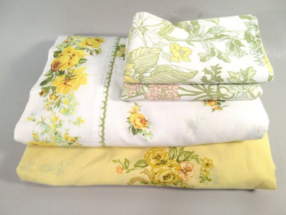 Lovely queen size sheet set remix!  Vintage sheets really stand the test of time! They have a worn in feel, amazing design, and quality of days long