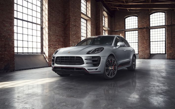 Download wallpapers Porsche Macan Turbo, 2018, Exclusive Performance Edition, new silver Macan, tuning, German cars, sports SUV, Porsche