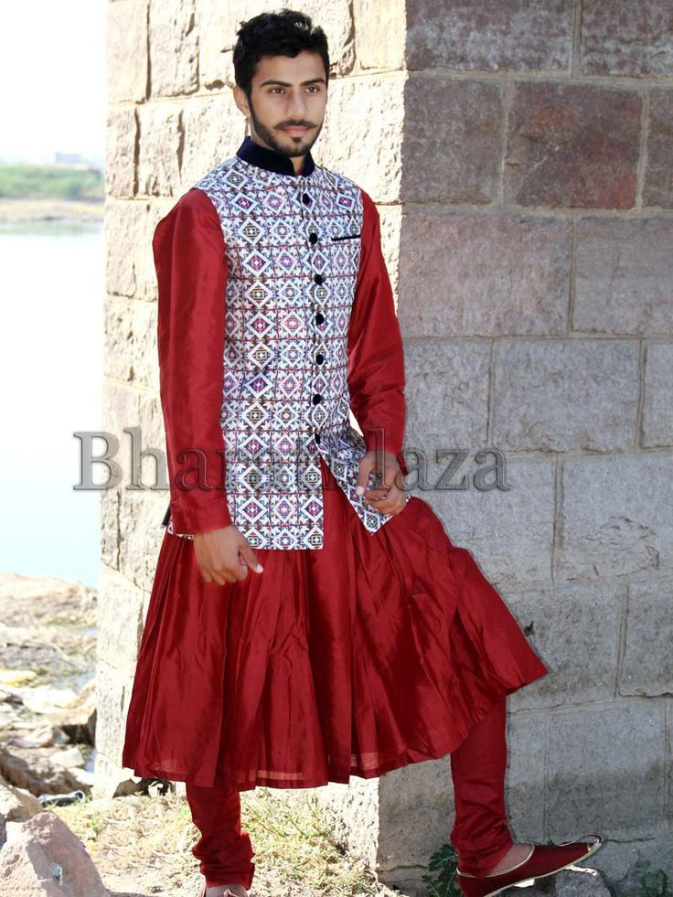 Exquisite red color crepe silk anarkali paired with matching churidar.  Item Code: SKHH03LJ http://www.bharatplaza.com/new-arrivals/mens-anarkali.html
