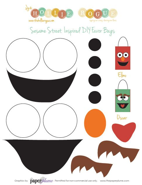 sesame street birthday favor bags. Templates could be used on sensory paper for Sesame Street anniversary activities!