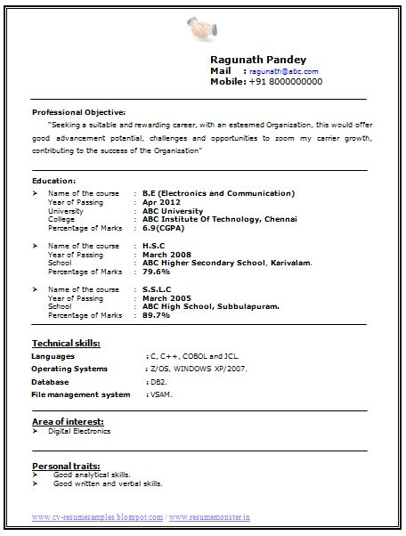 The 25+ best Resume format for freshers ideas on Pinterest - sample resume format for freshers