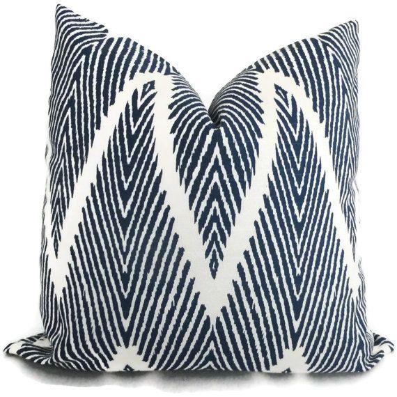 Indigo Blue Ikat Chevron Decorative Pillow Cover by PopOColor