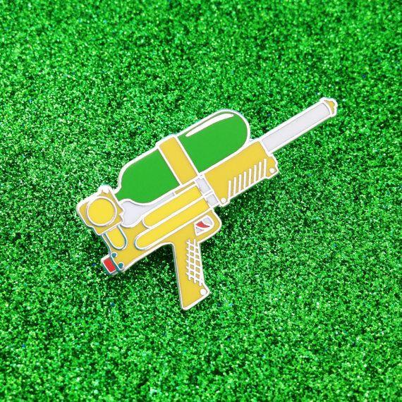 Water Gun Enamel Lapel Pin Badge Supersoaker 90s by fairycakes