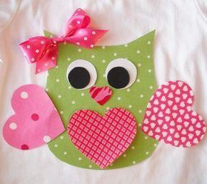 Fer sur Valentine chouette Applique avec ruban                                                                                                                                                                                 Plus