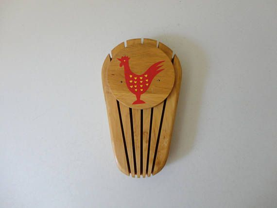 VINTAGE nevco red rooster KNIFE HOLDER