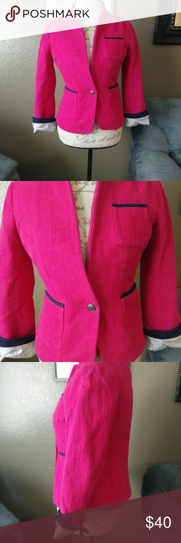 Hot pink blazer In good condition Banana Republic Jackets & Coats Blazers