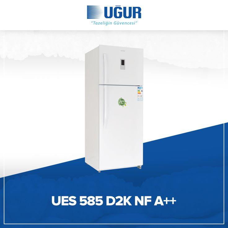 UES 585 D2K NF A++ birçok özelliğe sahip. Bunlar; no-Frost (Otomatik defrost), elektronik ısı kontrol 0 C° bölmesi, nem kontrollü sebzelik, led aydınlatma, geniş sebze ve meyve bölmesi, kapı açık alarmı, kapıda yer tasarrufu sağlayan buz yapma bölümü, yüksek yalıtımlı saklama kabı, dijital termometre, geniş şişe bölmesi. #uğur #uğursoğutma