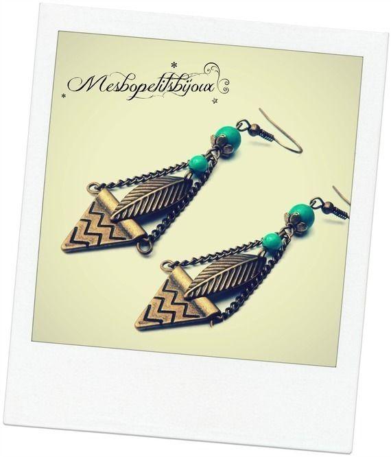 boucles d'oreilles vintages  pendantes et turquoise 1e