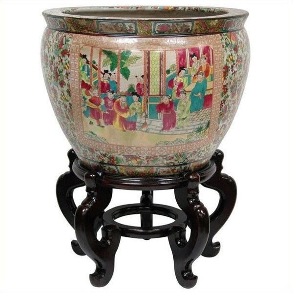 """Oriental Furniture 18"""""""" Rose Medallion Fishbowl ($319) ❤ liked on Polyvore featuring home, home decor, asian home decor, asian inspired home decor, asian planter, lotus bowl and rose bowl"""
