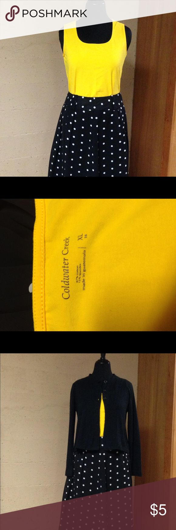 Bright yellow tank top This bright yellow tank top is made by Coldwater Creek. It is a cotton spandex blend and will go under any jacket or sweater to complete an outfit. It can also be worn on its own in the summertime. Coldwater Creek Tops Tank Tops
