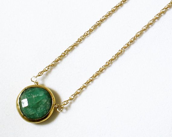 A simple pendant with a small single precious Emerald is easy to wear, day and night! Our small Gemstone necklaces with precious rubies, emeralds, sapphires, and semi-precious turquoise, garnets, and chalcedony, are very pretty, a reasonable price, and are real gemstones you can wear every day. It makes a nice gift for your wife, girlfriend, friend, sister, daughter!  Wear our beautiful precious Emerald, a stone of successful love, and bring harmony to all areas of your life. Our Emerald…