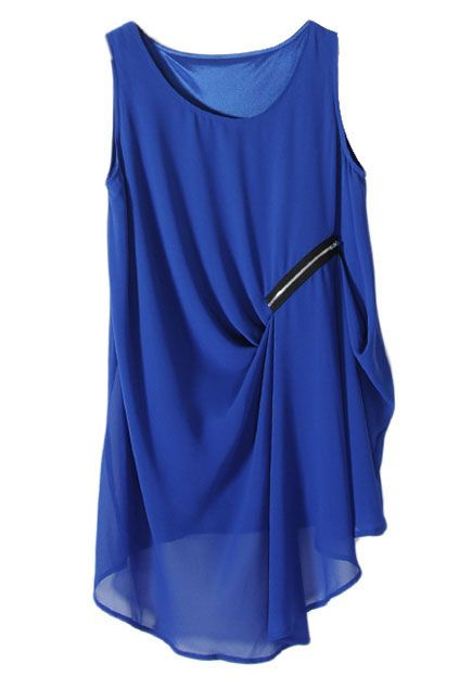 Anomalous Hem Zipped Oversized Blue Dress