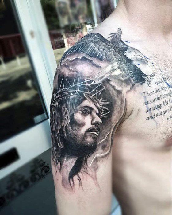 8b3c97791 60 Jesus Arm Tattoo Designs For Men - Religious Ink Ideas | piya ...