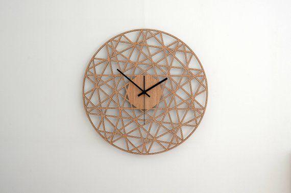 Polygonal Wall Clock Wood Living Room Clock Home Decor Wood Decor Modern Wall Clocks Silent Natural Oak Clock Gift For Home Wood Wall Clock Wall Clock Modern Wall Clock