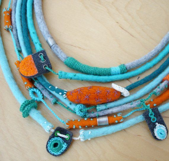 Textile  necklace or chocker  nO.144 by kjoo on Etsy