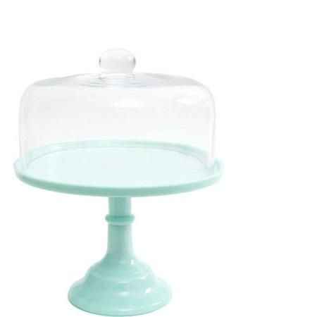"""The Pioneer Woman Jadeite 10"""" Cake Stand with Glass Cover - Walmart.com"""