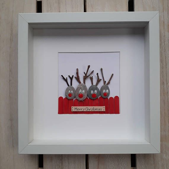Christmas Pebble Picture Reindeer Pebble art Family gift