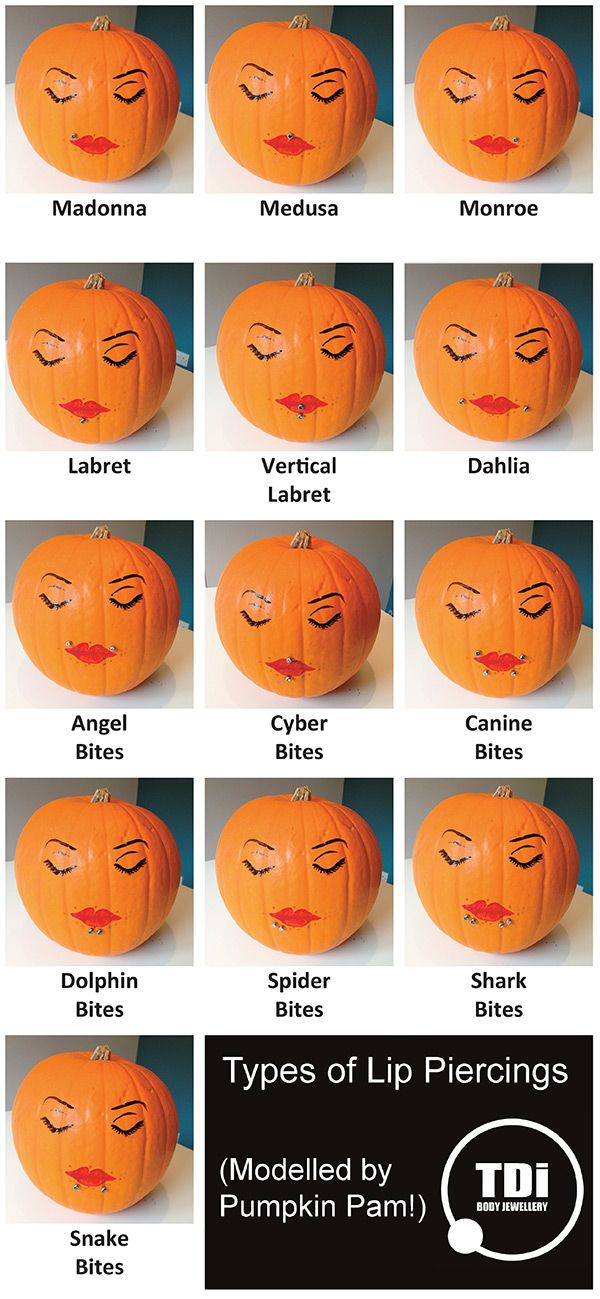 Types of Lip Piercings modelled by Pumpkin Pam!