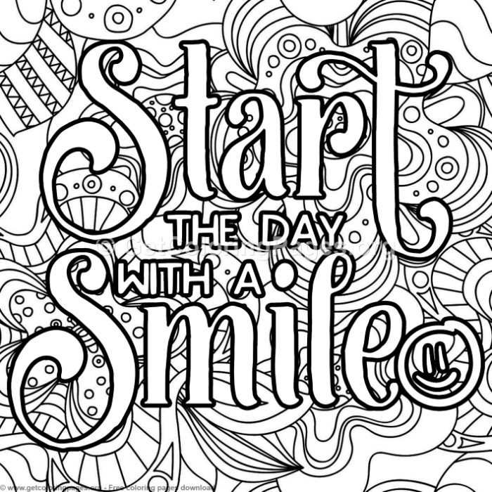 Start The Day With A Smile Coloring Pages Quote Coloring Pages Swear Word Coloring Book Love Coloring Pages