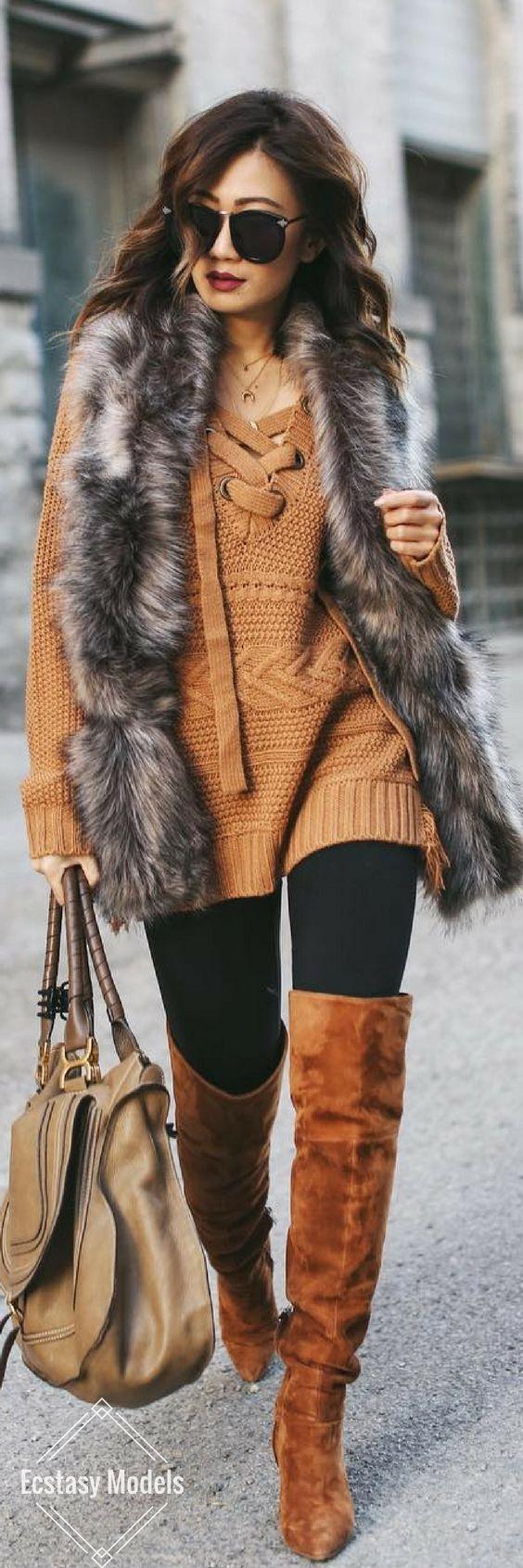 Camel OTK Boots // Fashion Look by Shai Chung