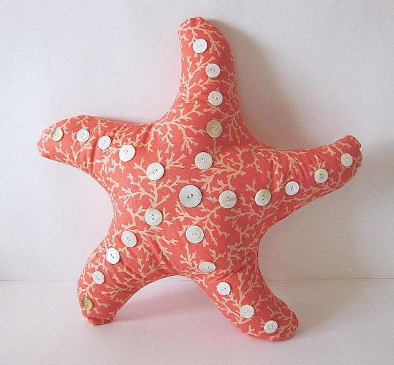 Star Fish Pillow, Beach Pillow, Ocean Pillow, Nautical Pillow, Coastal Pillow, Unique Pillow, Vintage MOP Shell Buttons, Novelty Pillow