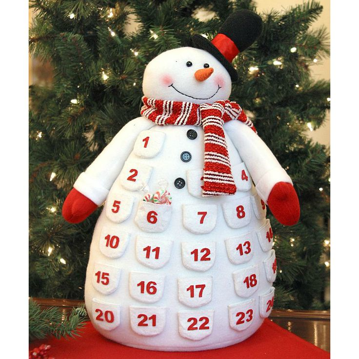 "- Plush Snowman Advent Calendar - 18"" Tall - Top Hat and Scraf - Soft - Tabletop"