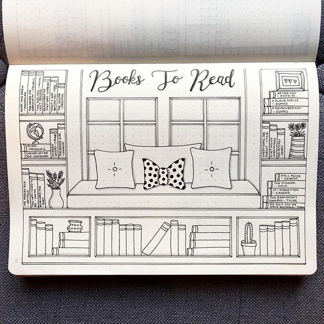 Creative inspiration: Bullet Journal 'books to read' Spread - Bujo book tracker ideas - reading list layout for your Bujo - #bujobookspread #bulletjournalideas