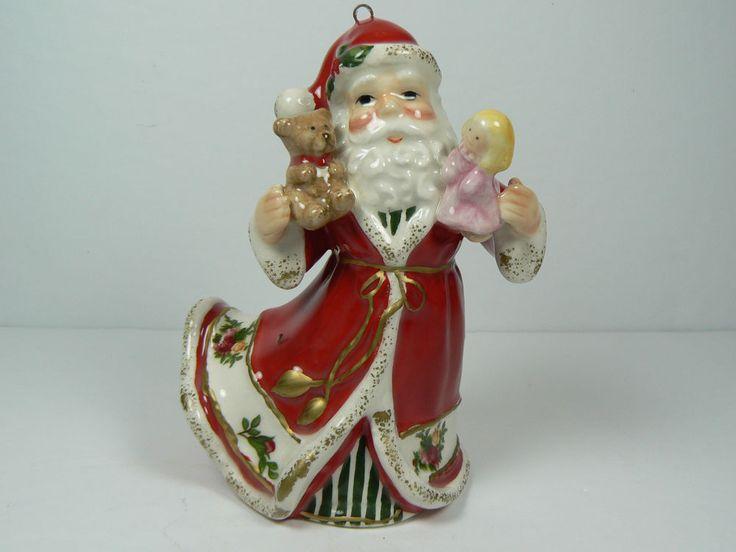 Vintage Royal Albert Old Country Roses 4  Porcelain Hanging Santa Ornament | eBay