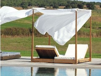 Lettino da giardino a baldacchino reclinabile in teak ESSENZA | Lettino da giardino a baldacchino - Ethimo