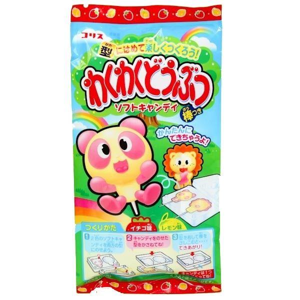 DIY waku waku soft candy  Description: Dit Do It Yourself (DIY) pakket bestaat uit een soort eetbare klei en bevat gele en roze zachte snoepsticks (citroen en aardbei smaak). Met de sticks kun je echt kleien. Met de meegeleverde vormen kun je tot 4 diertjes maken zoals een panda of leeuw.  Price: 3.00  Meer informatie  #Jamin