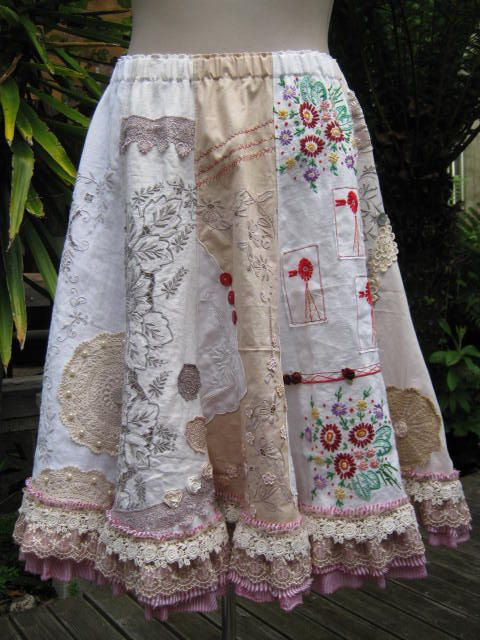 Upcycled cotton lace fabric doily embroidery skirt