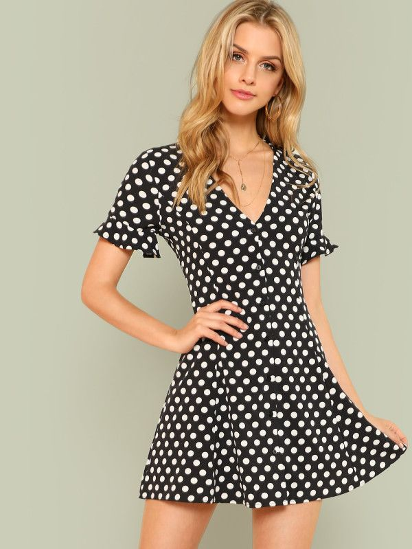 07b321e308 Polka Dot Button Up Tie Waist Shirt Dress BLACK -SheIn(Sheinside ...