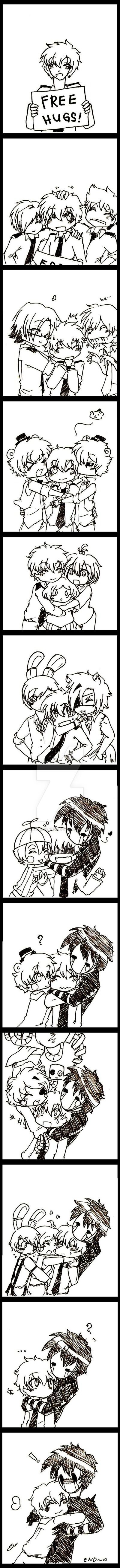 fnaf-free hugs with Jeremy!! by karinchan97-the end is cute with Jeremy and the marionette,I ship them.